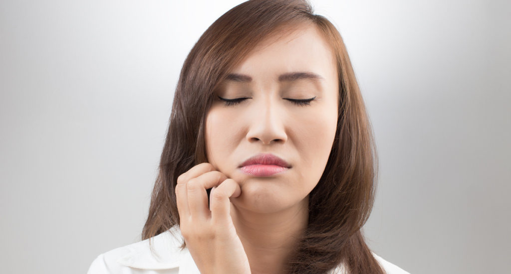 woman with numb mouth